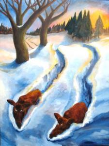 Everzwijnen in de sneeuw