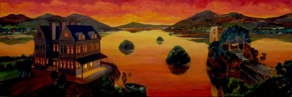 Lakeside Hotel (rood), 2012<br> Olieverf op linnen, 50 x 150 cm<br> € 1750,-