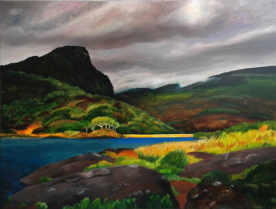 Muckross Lake, 2017<br> Olieverf op linnen, 70 x 90 cm<br> € 1950,-