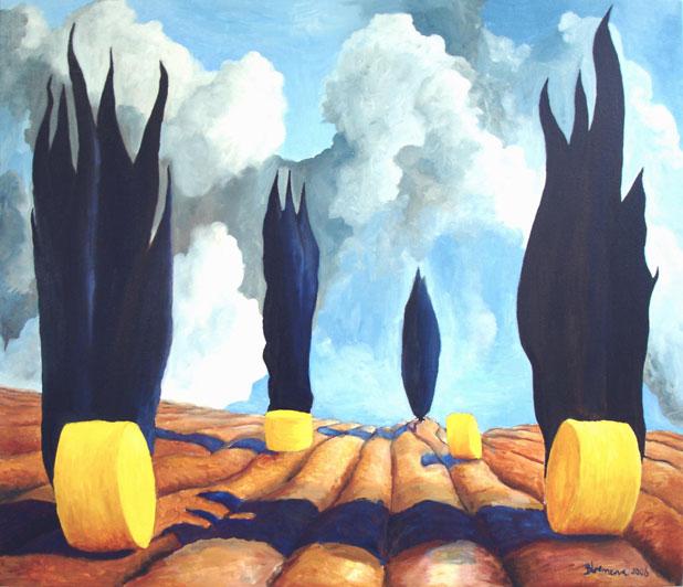 Toscane, 2006<br> Olieverf op linnen, 90 x 105 cm<br> <strong>Alleen in augustus voor €1450,-</strong>